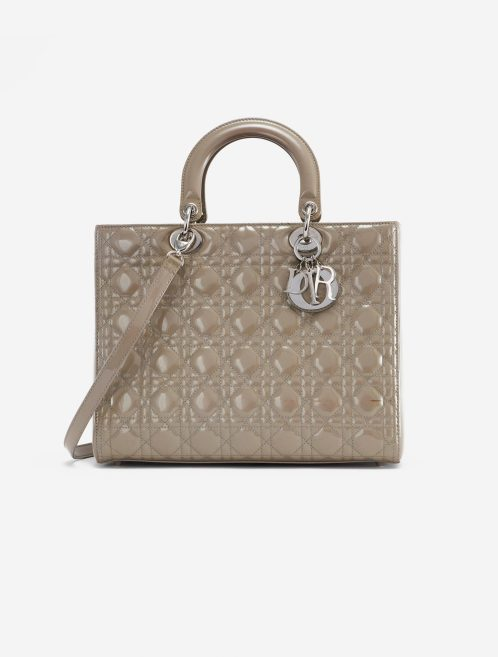 Dior Lady Large Patent Leather Gris Gray, Natural  | Sell your designer bag on Saclab.com