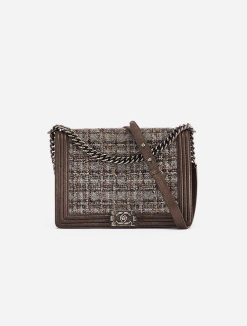 Chanel Boy Large Tweed / Caviar Brown