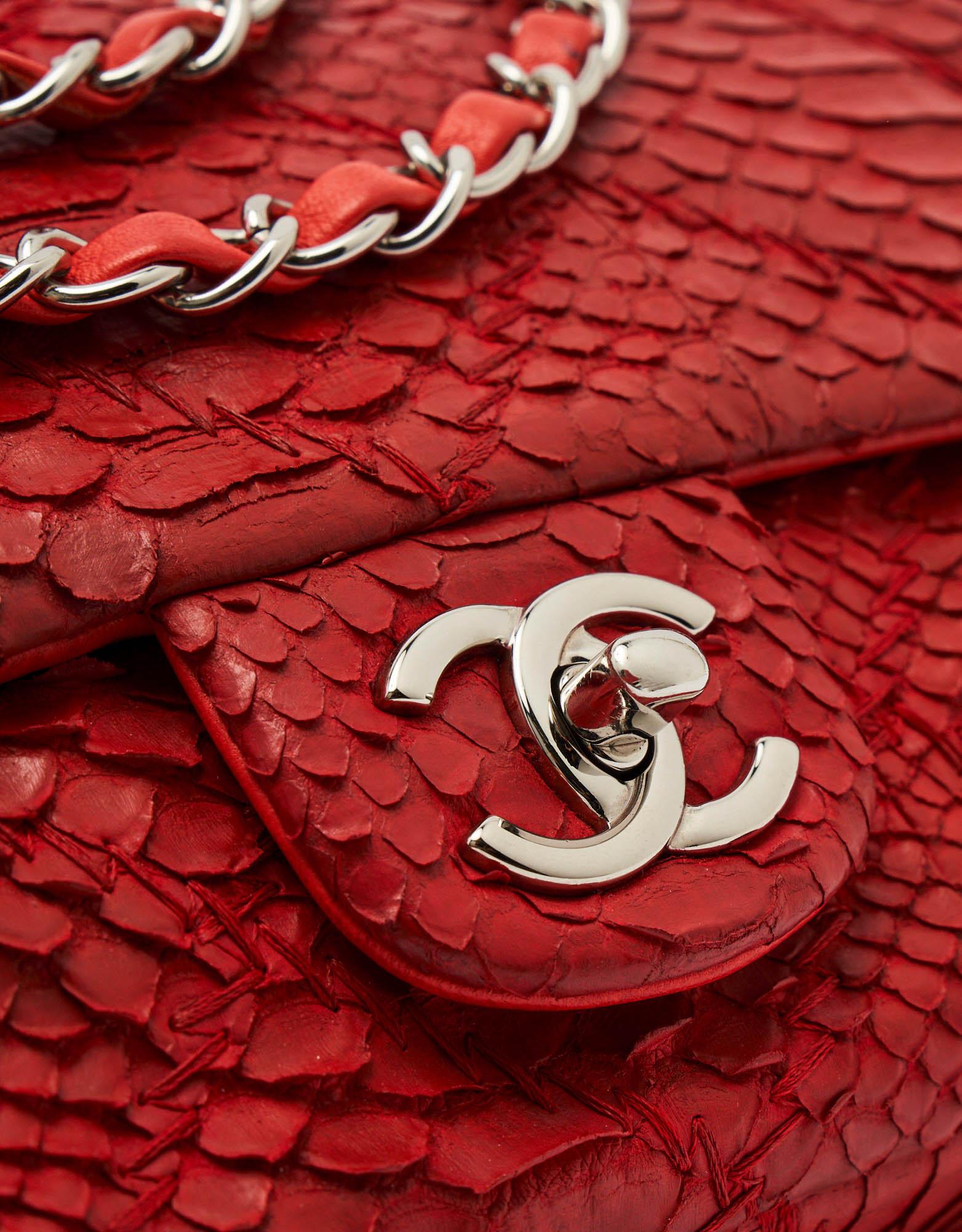Chanel Timeless Medium Python Red