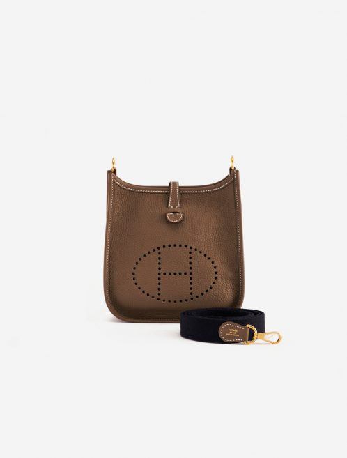 Hermès Evelyne 16 Amazone Etoupe / Bleu Indigo Brown, Dark blue, Natural  | Sell your designer bag on Saclab.com