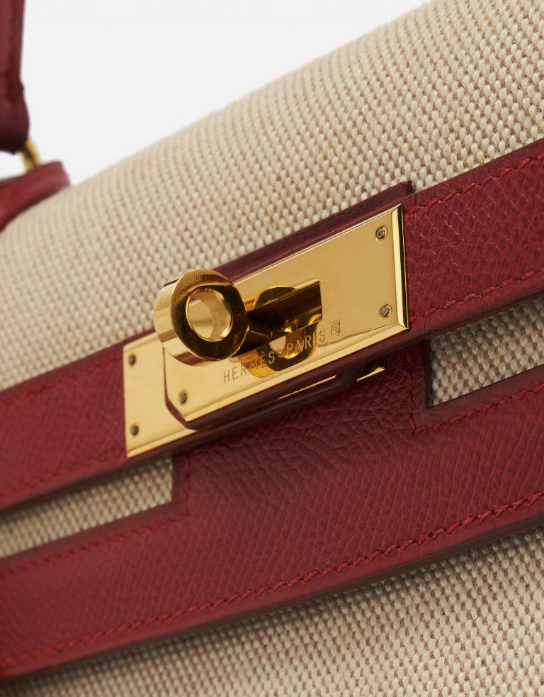 Hermès Kelly 32 Courchevel / Toile Rouge Vif / Toile