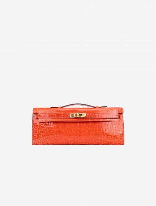 Hermès Kelly Cut Clutch Porosus Crocodile Orange Poppy Orange  | Sell your designer bag on Saclab.com