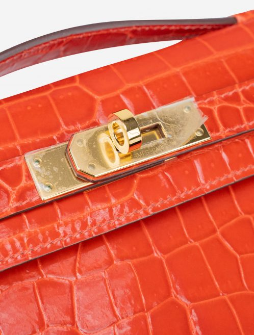 Hermès Kelly Cut Clutch Porosus Crocodile Orange Poppy