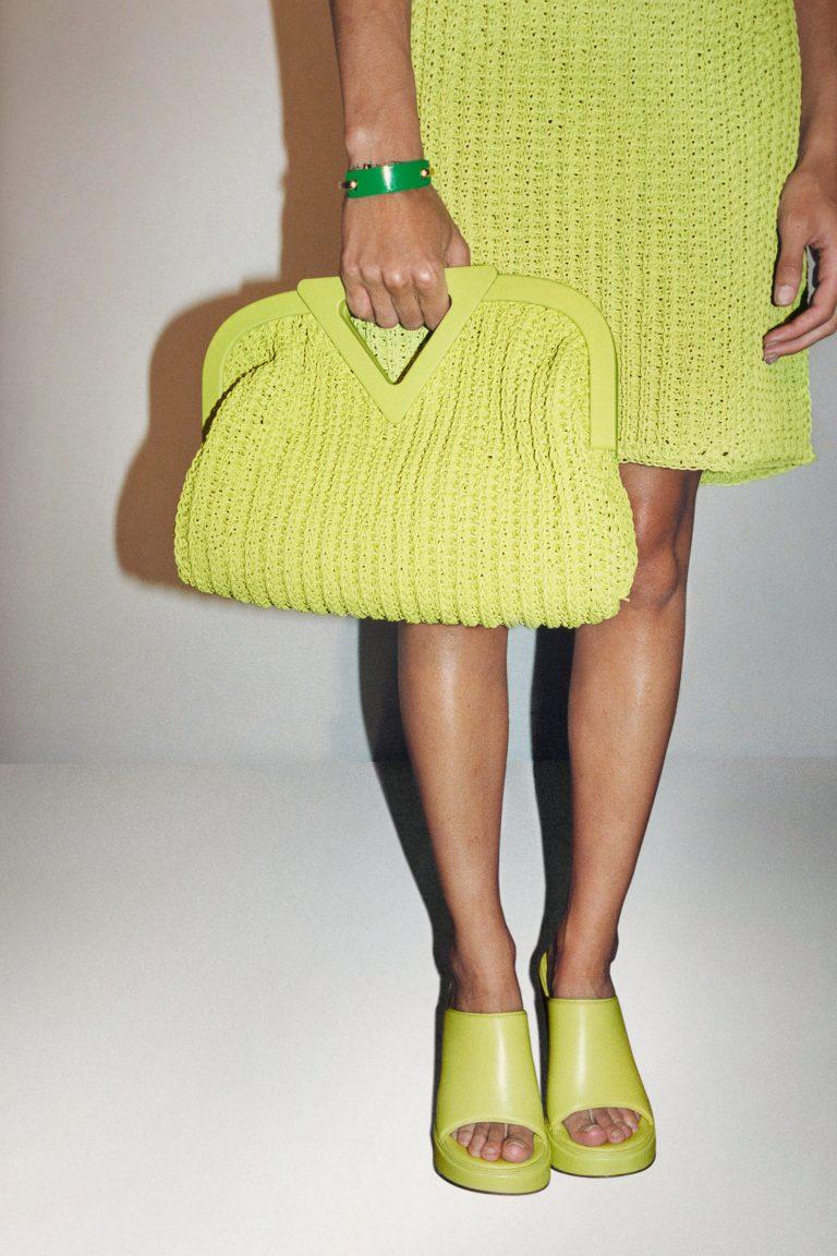 Bottega Veneta Spring Summer 2021 yellow knitted clutch