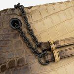 Bottega Veneta Double Chain Shoulder Crocodile Himalaya