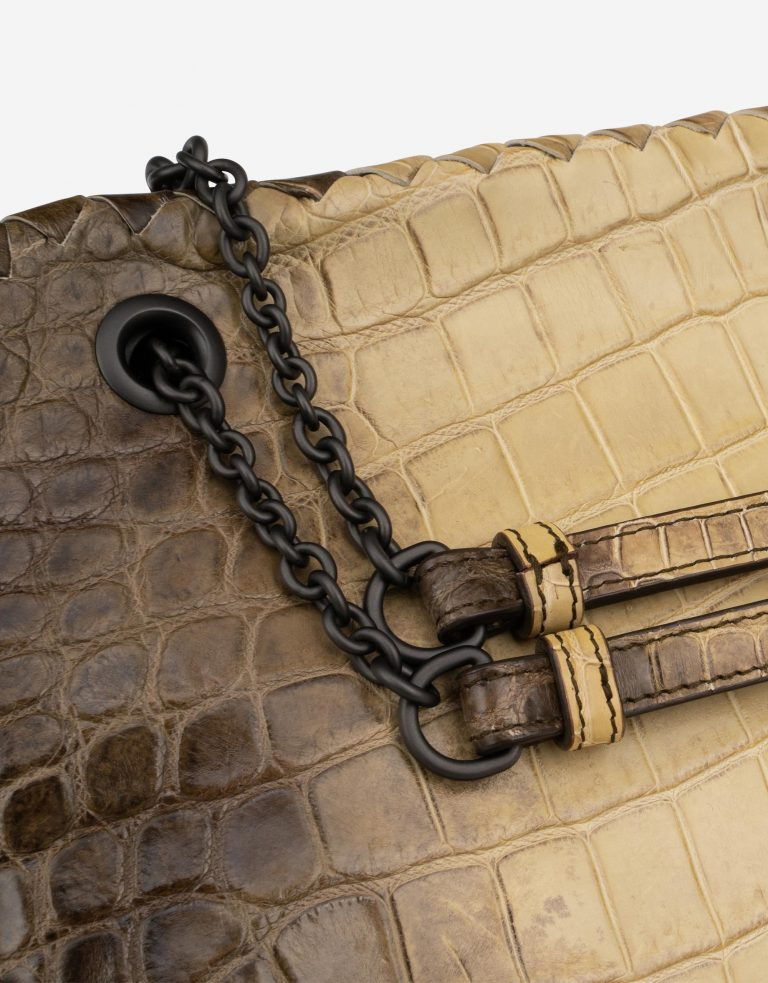 Bottega Veneta Double Chain Shoulder Crocodile Himalaya