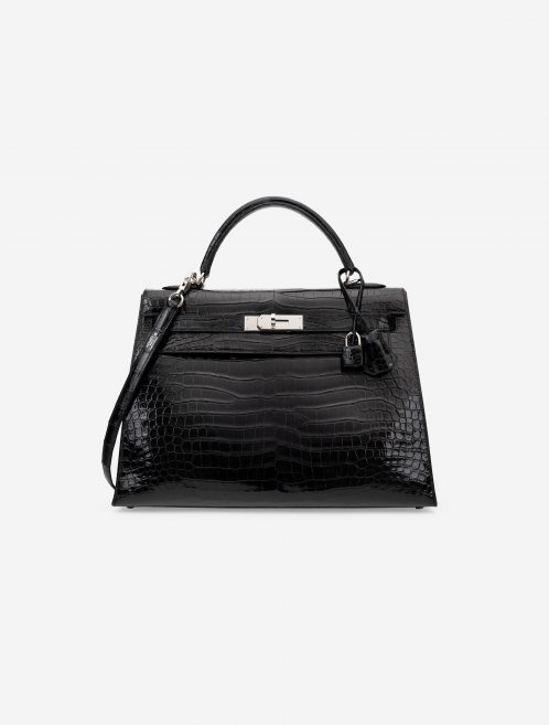 Hermès Kelly 32 Porosus Crocodile Lisse Black Black  | Sell your designer bag on Saclab.com