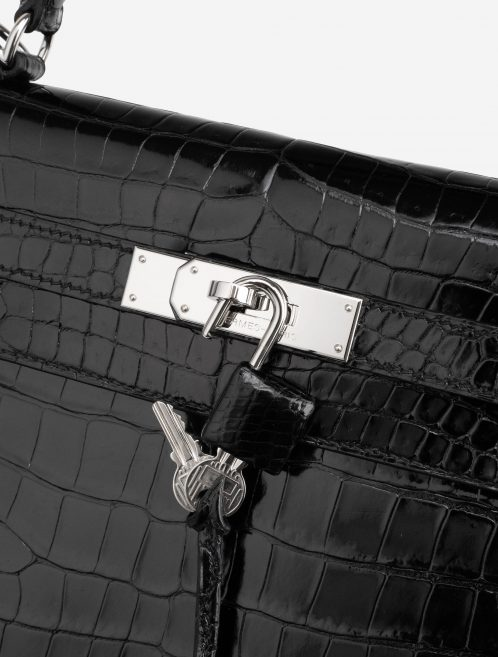 Hermès Kelly 32 Porosus Crocodile Lisse Black