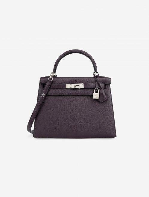Hermès Kelly 28 HSS Brushed PHW Chevre Raisin / Black