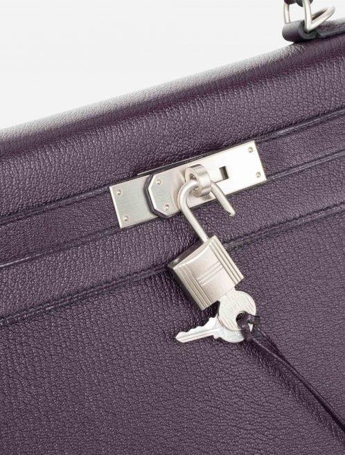Hermès Kelly 28 HSS Brushed PHW Chevre Raisin / Black Burgundy, Violet  | Sell your designer bag on Saclab.com