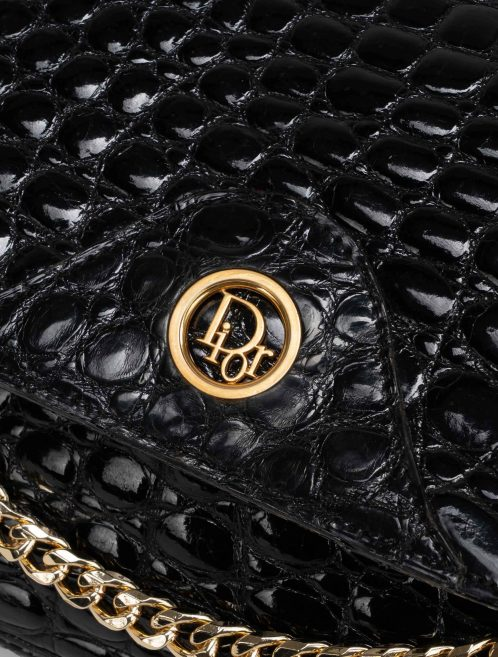 Dior Shoulder Bag Small Crocodile Black