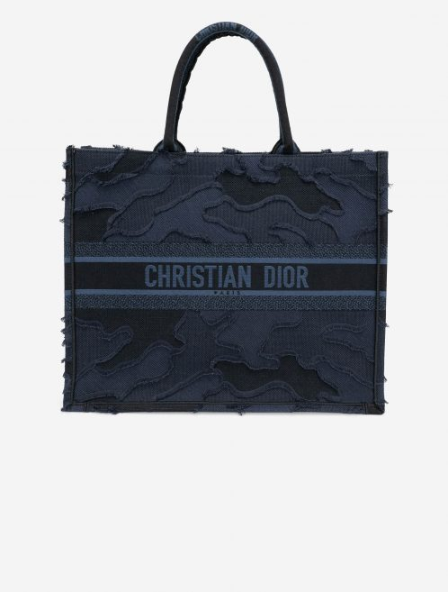 Dior Book Tote Large Camouflage Embroidery Blue