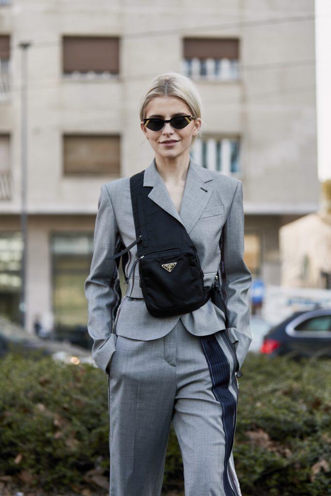 Caro Daur with a black Prada Nylon Bag