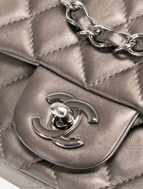 Chanel Timeless Mini Square Lamb Grey Metallic