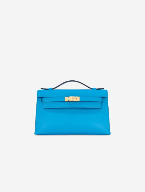 Hermès Kelly Pochette Swift Blue Frida Blue  | Sell your designer bag on Saclab.com