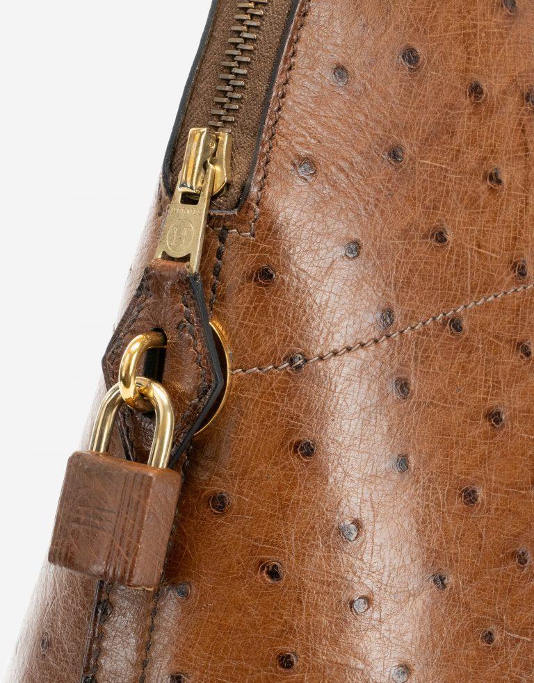 Hermès Vintage Bolide 37 Ostrich Tabacco lock