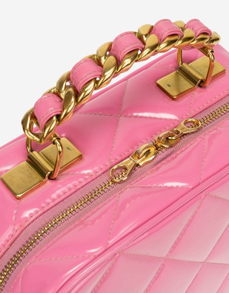 Chanel Vintage Vanity Case Patent Leather Pink Hardware