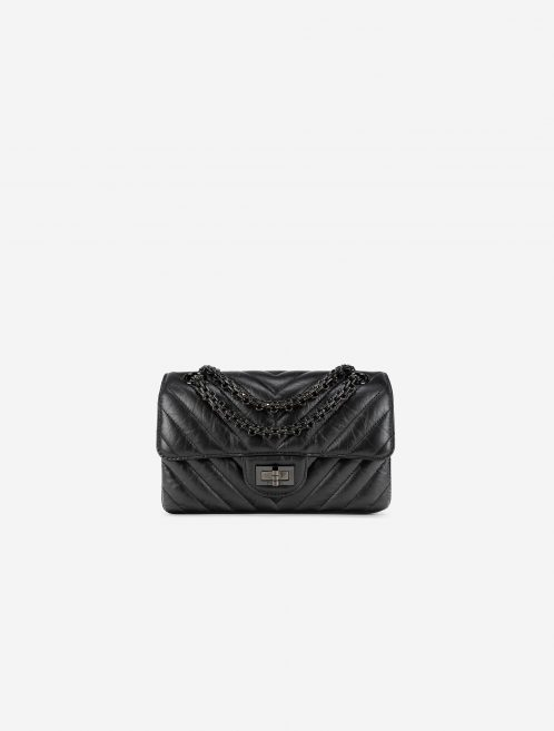Chanel 2.55 Mini Rectangular So Black Chevron Lamb Front