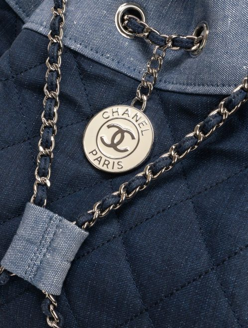 Chanel Drawstring Backpack Denim Blue Hardware