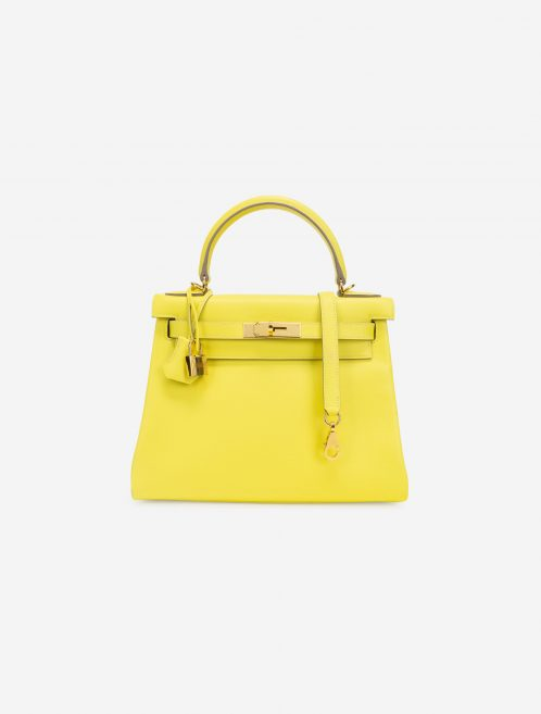 Hermès Kelly 28 Evercolor Lime GHW Front