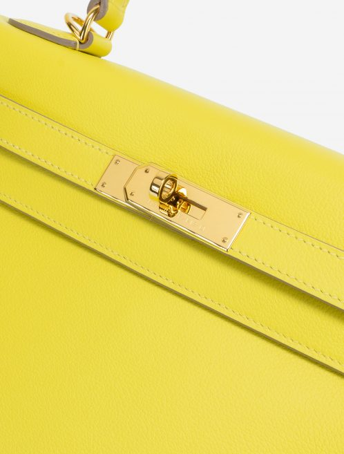 Hermès Kelly 28 Evercolor Lime GHW Hardware Clasp