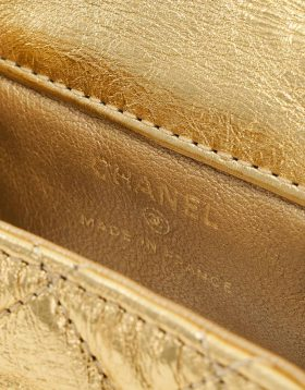Chanel Gold Cracked Lambskin