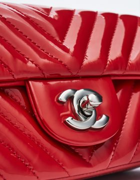 Chanel Red Patent Silver-tone Hardware
