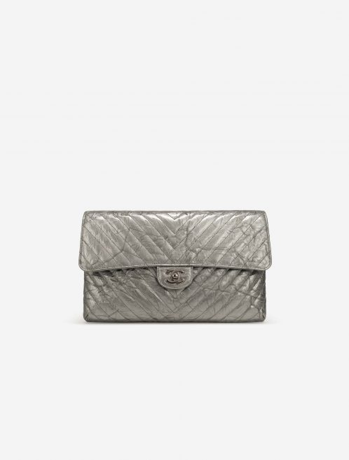 Chanel Timeless Clutch Lamb Chevron Silver