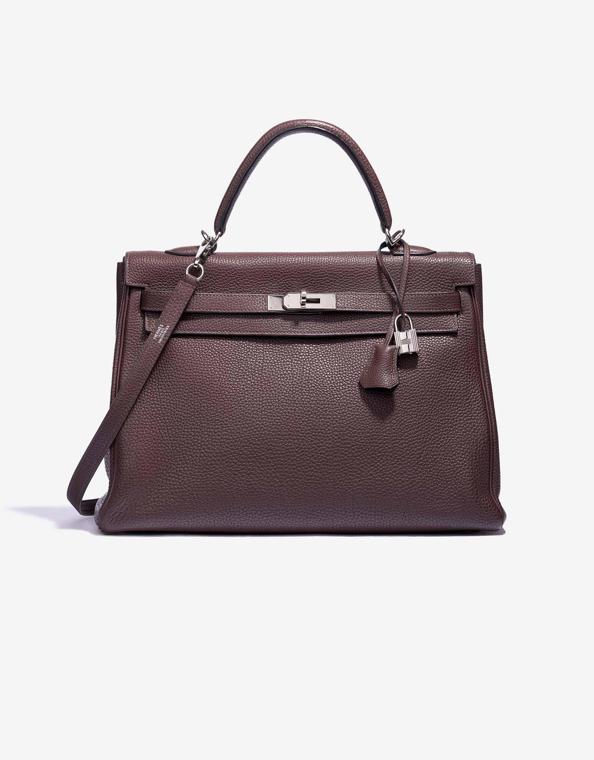 Hermès Kelly 35 Clemence Leather Chocolate | SACLÀB