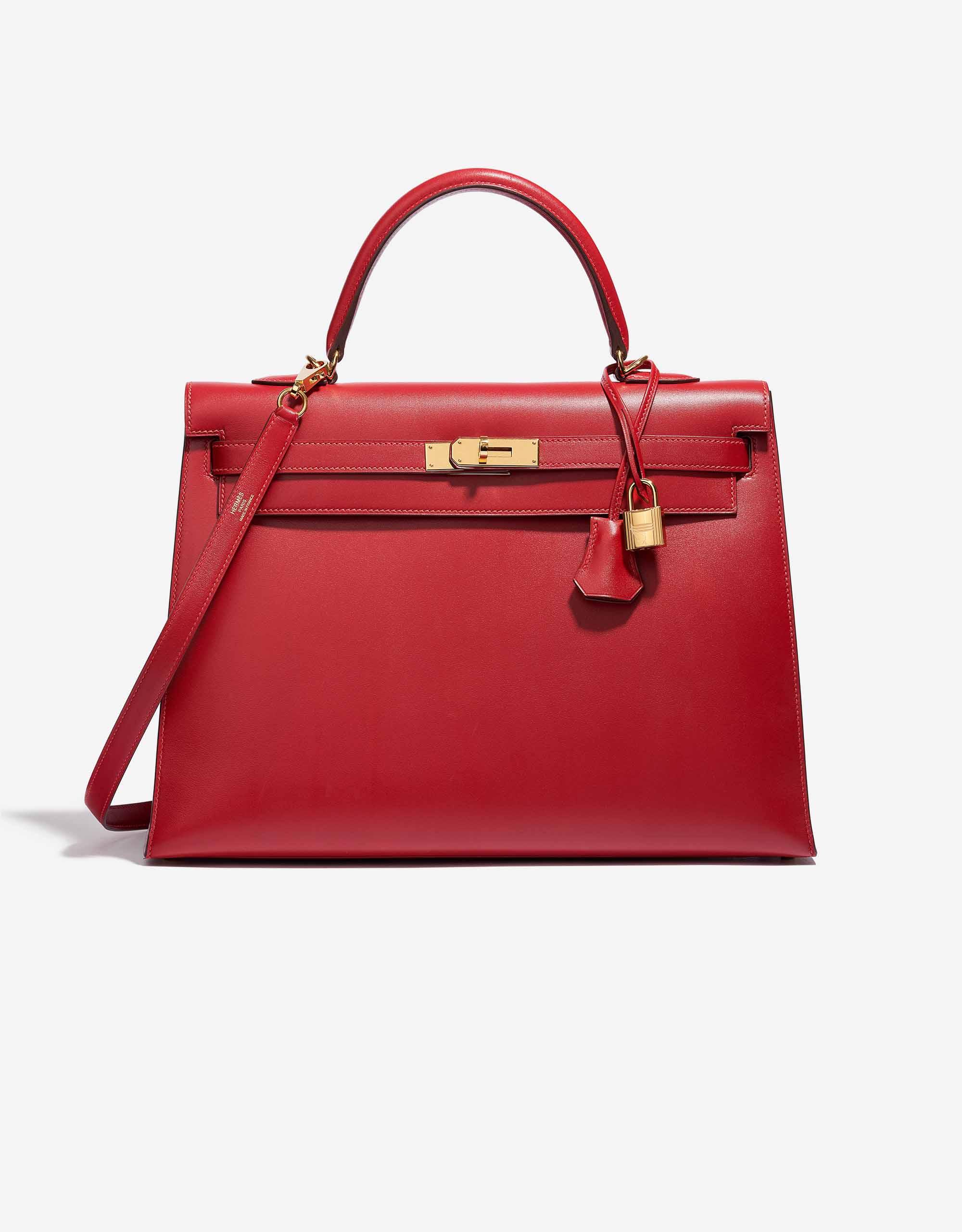 Hermès Kelly 35 Tadelakt Leather Rouge Vif | SACLÀB