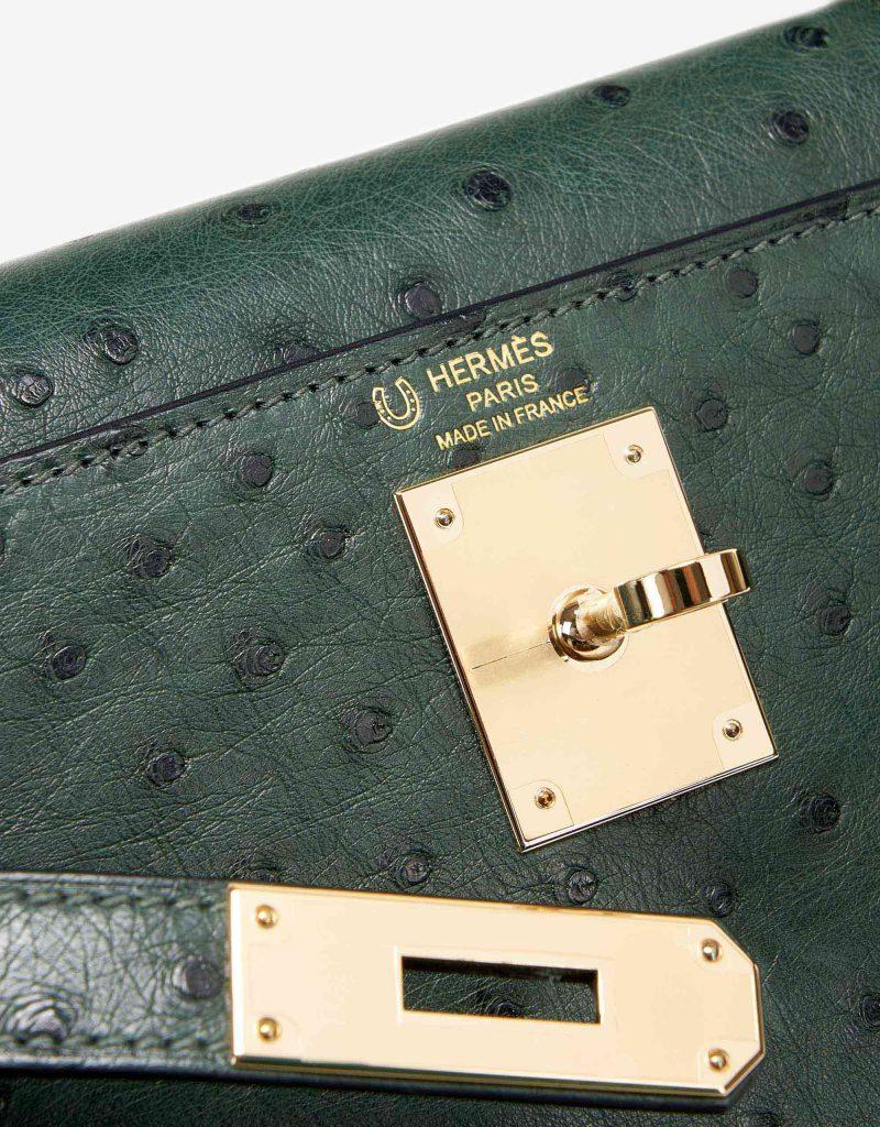 Hermès Kelly 28 HSS Ostrich Vert Titien/ Bleu Indigo