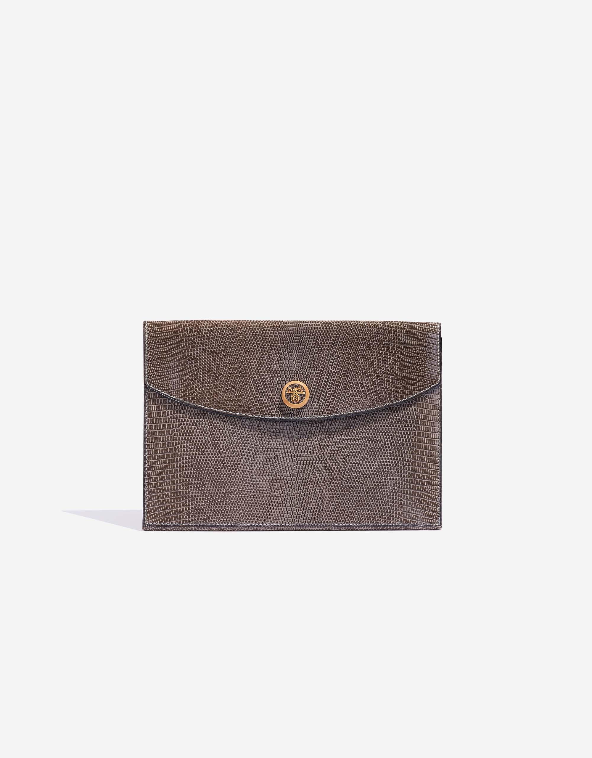 Hermès Rio Lizard Gris Fonce Clutch Bag   SACLÀB