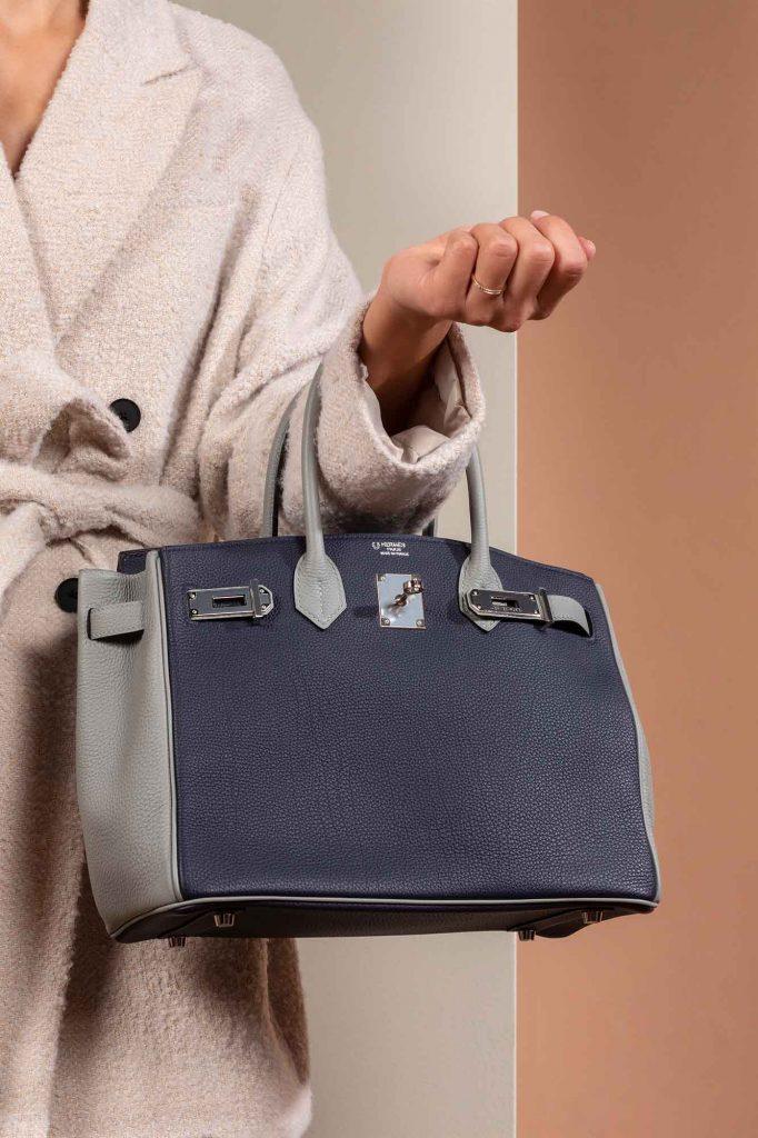 SACLÀB special-order pre-loved Hermès Birkin 30 HSS Togo Blue Encre / Gris Mouette