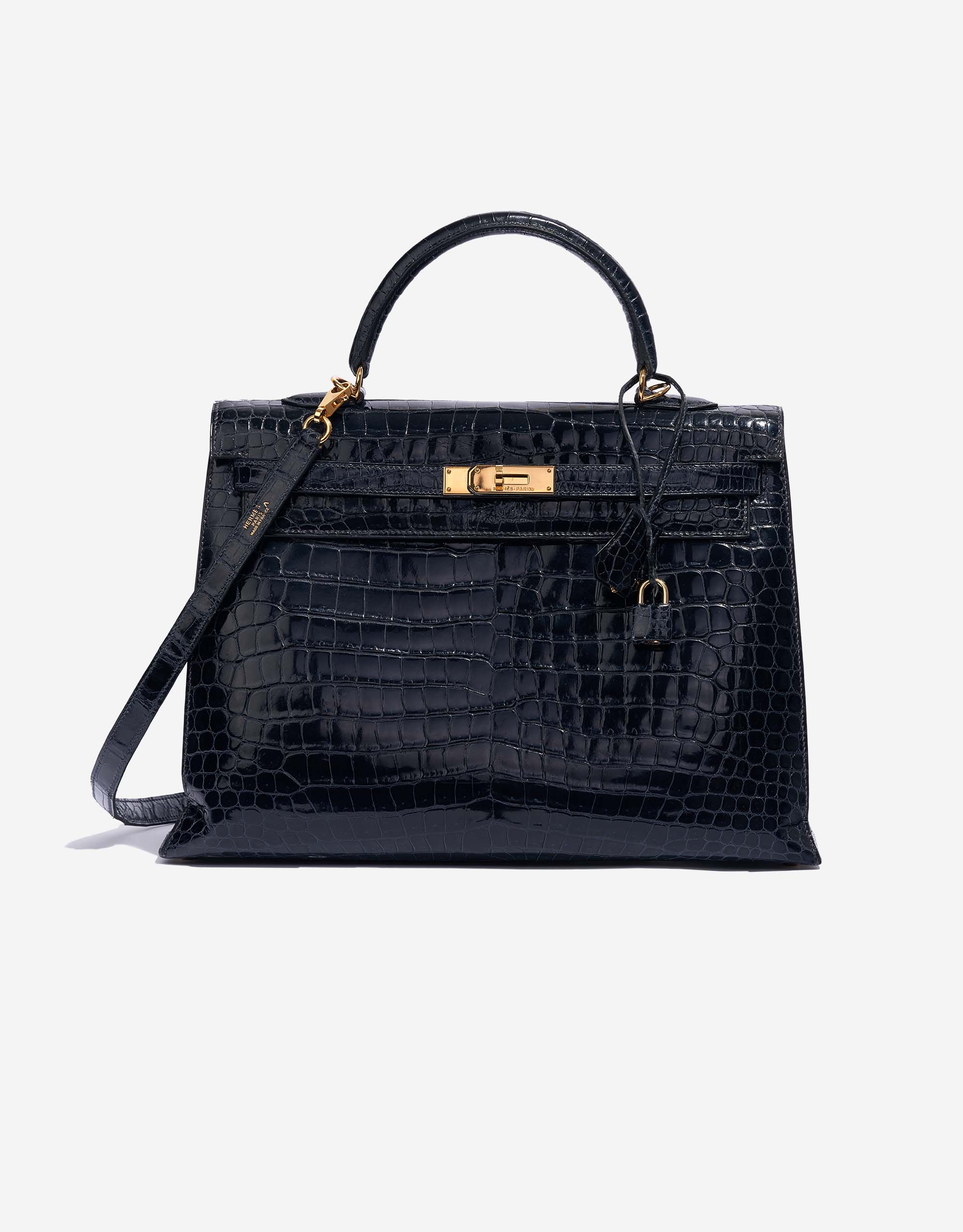 Hermès Kelly 35 Crocodile Porosus Bleu Marine | SACLÀB