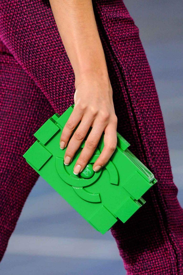 Chanel Green Lego Clutch on SS13 Runway