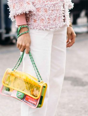 SACLÀB Colourful Chanel PVC handbag streetstyle