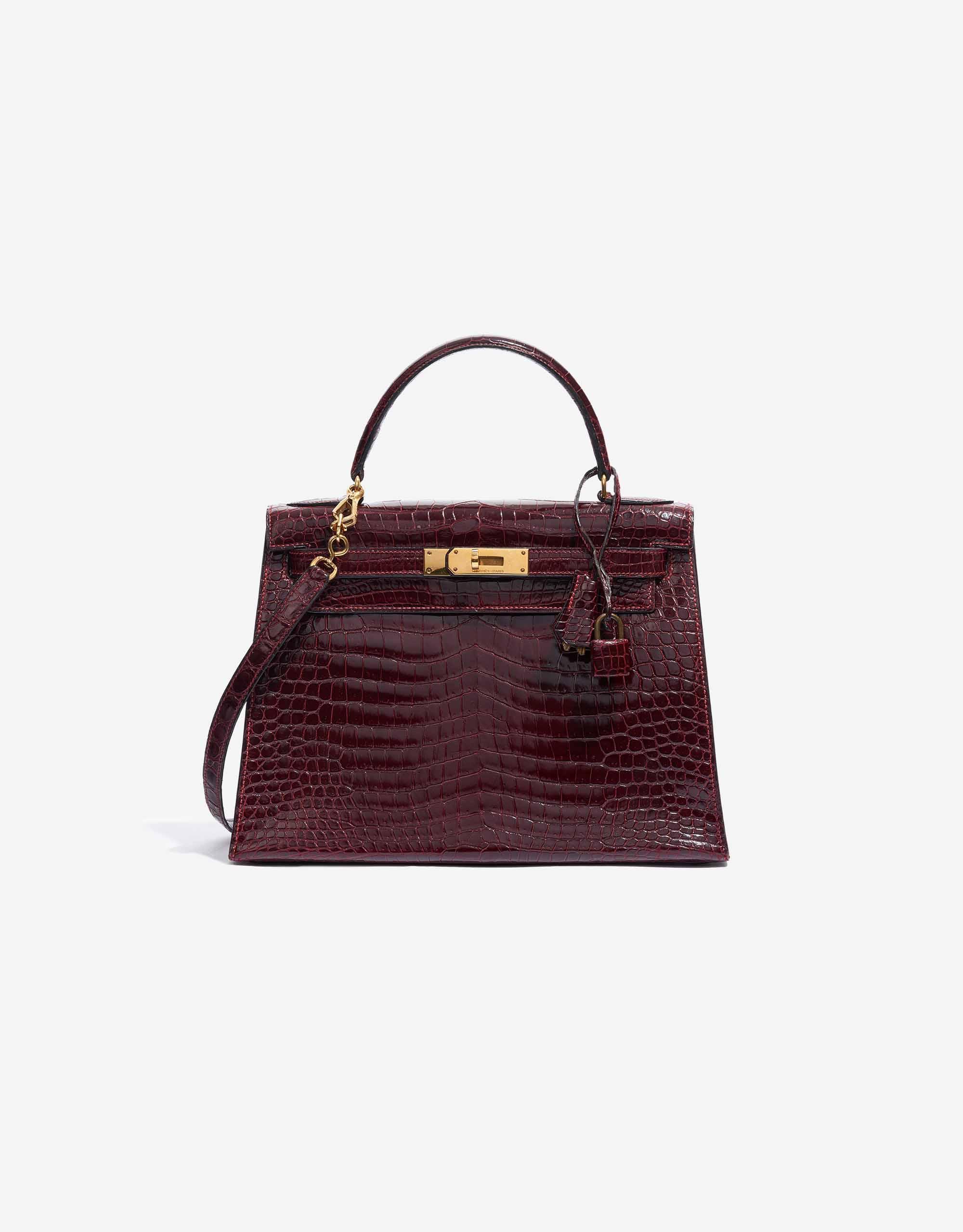 Hermès Kelly 28 Porosus Crocodile Bordeaux | SACLÀB