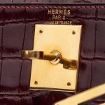Hermès Kelly 28 Porosus Crocodile Bordeaux