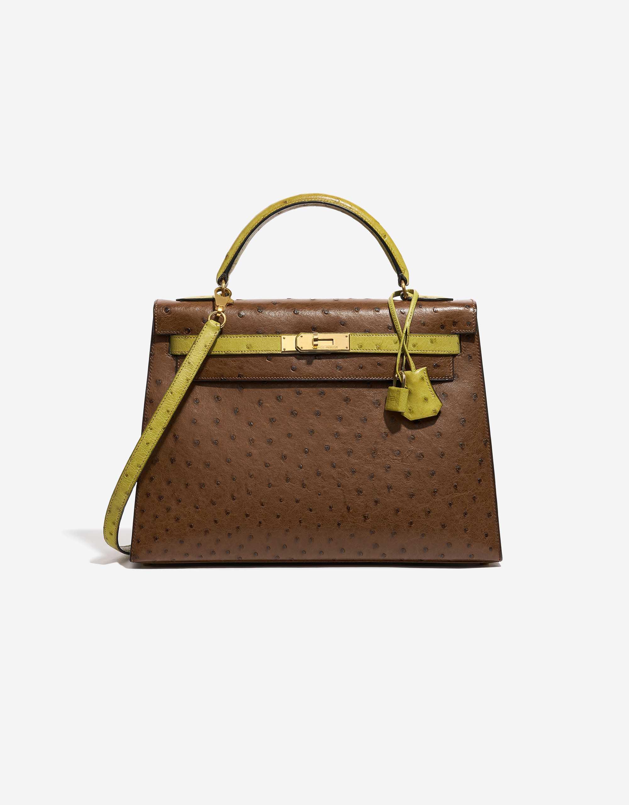 Hermès Kelly 32 Ostrich Marron / Vert Anis | SACLÀB