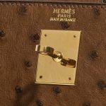 Hermès Kelly 32 Ostrich Marron / Vert Anis