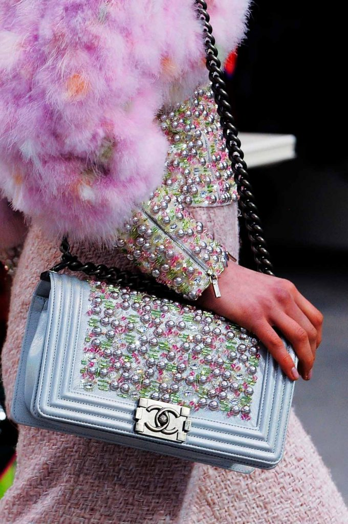 Chanel Boy Bag with Pearls Runway Fall 2014 | Shop pre-loved luxury bags at SACLÀB