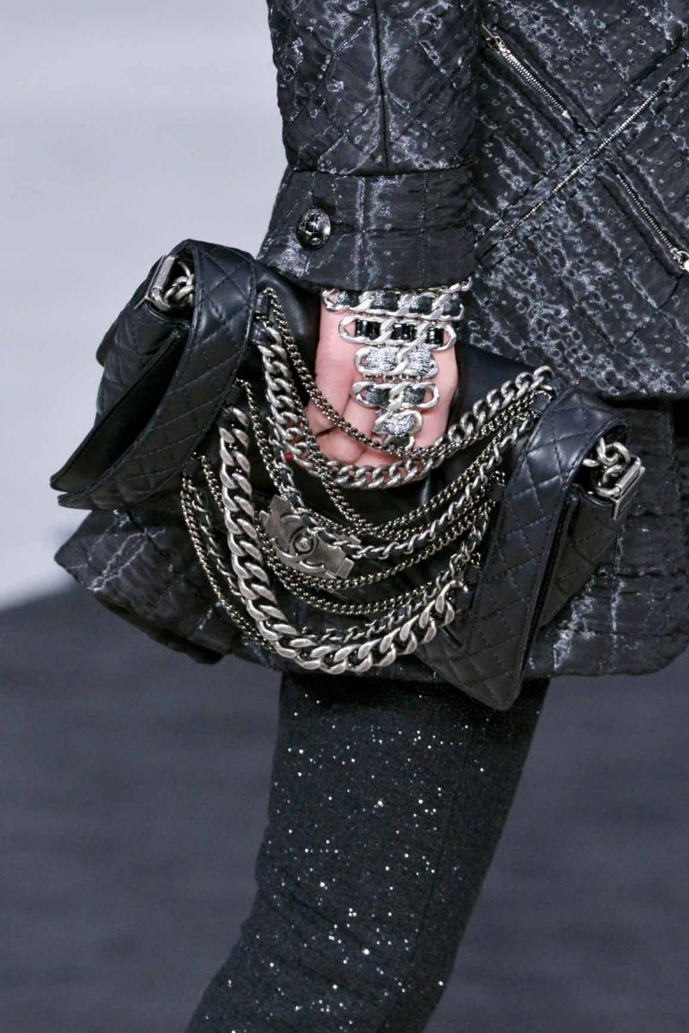Chanel Boy Reverso Black with Chains Runway Fall/Winter 2013 | Shop pre-loved luxury bags on SACLÀB