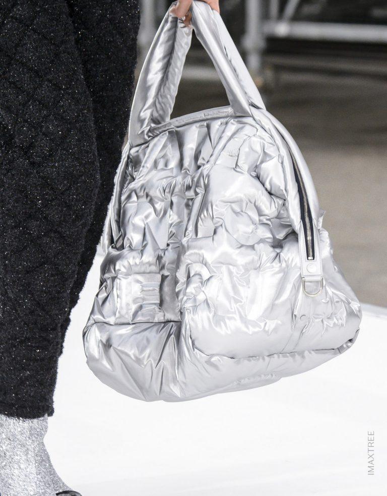 Chanel Fall Winter 2017 Silver Nylon Shopper