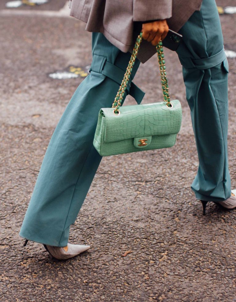 Chanel Alligator Flap Bag Streetstyle