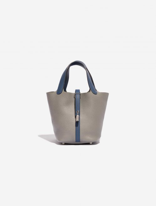 Hermès Picotin 18 Clemence / Swift Gris Mouette / Blue Agate Blue, Gray Front | Sell your designer bag on Saclab.com