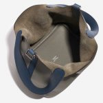 Hermès Picotin 18 Clemence / Swift Gris Mouette / Blue Agate Blue, Gray Inside | Sell your designer bag on Saclab.com
