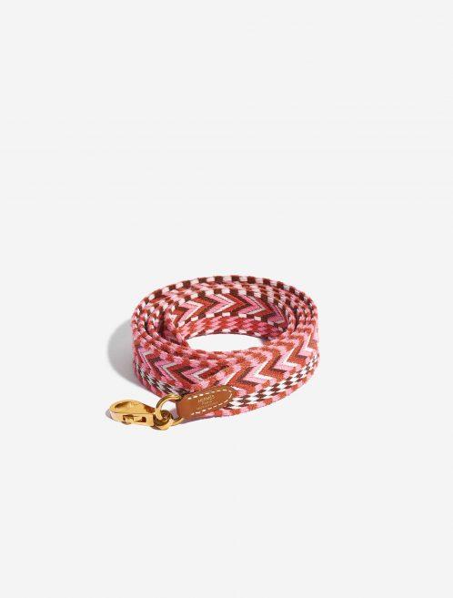 Hermès Shoulder Strap Canvas Rose Confetti / Rouge H / Blanc / Gold Multicolour Front   Sell your designer bag on Saclab.com