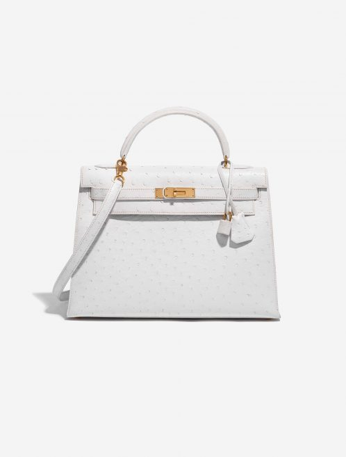 Hermès Kelly 32 Ostrich Blanc White Front   Sell your designer bag on Saclab.com