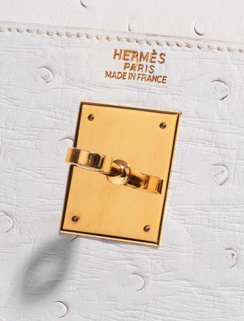 Hermès Kelly 32 Ostrich Blanc White Closing System   Sell your designer bag on Saclab.com