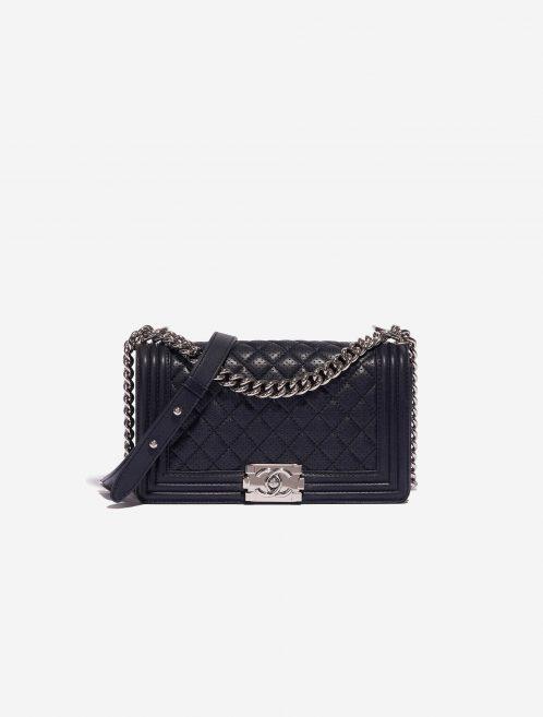 Chanel Boy Old Medium Lamb Blue Dark blue Front | Sell your designer bag on Saclab.com